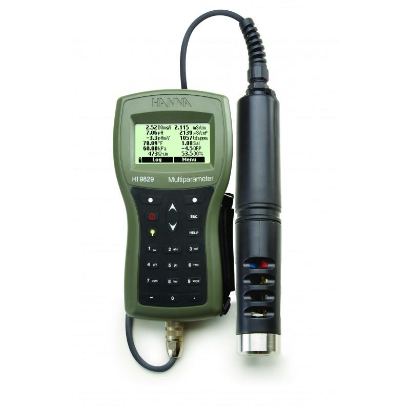 Multiparamètre HI 9829 en mallette, sonde pH, EC, OD, °C, câble 10 m