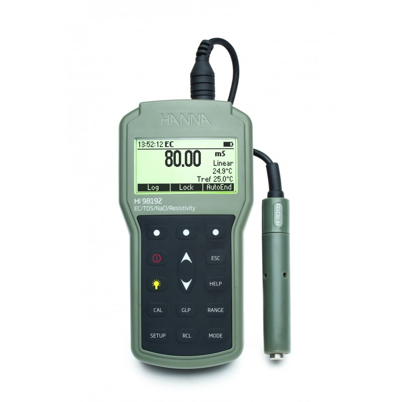 Conductimètre étanche HI98192, conforme USP 645, câble 1,5 m