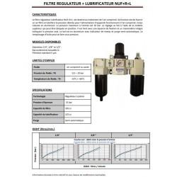 """1/2\"""" 1732 - Filtre + régulateur + lubrificateur NUF+R+L"""